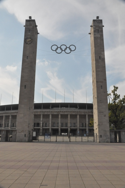 The original rings are still hanging between the original towers